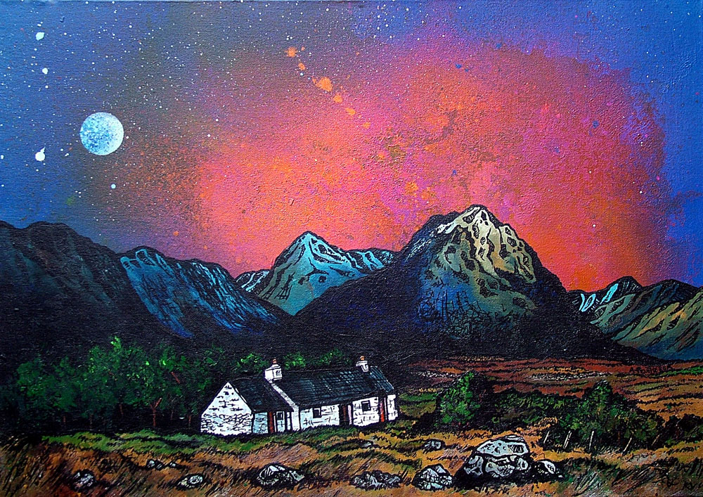 Paintings & prints of Black Rock Cottage & The Buachaille, Glencoe, Scottish Western Highlands.
