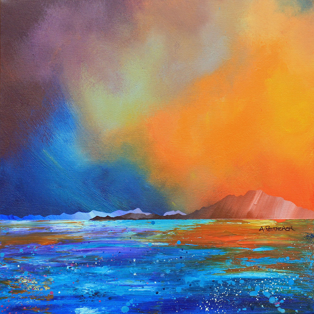 Painting & prints of Broadford Bay, Isle of Skye, Scotland, Inner Hebrides. By Scottish contemporary artist A Peutherer