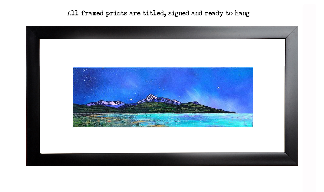 framed print of brodick bay & Goat fell, Isle of Arran, Scotland. from an original Scottish landscape painting by Glasgow artist A Peutherer. Original mixed media painting in acrylic paint, spray paint, oil paint and acrylic ink on box canvas.