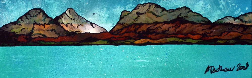 Contemporary Scottish fine art paintings, prints and greetings cards of Towards Bunavoneadar, The Isle of Harris, Scotland.