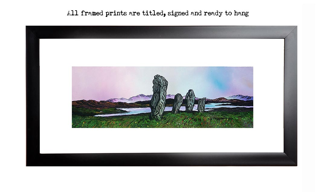 framed print, picture of Callanish standing stones, lewis hebrides, scotland.