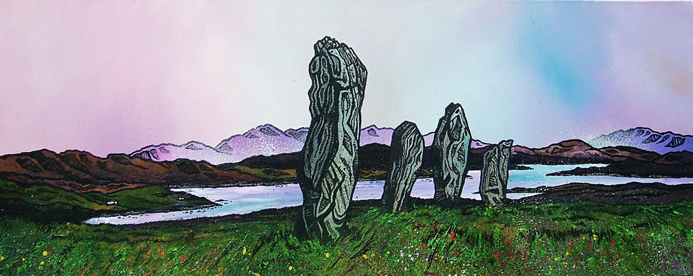Painting & prints of Callanish Standing Stones, Isle Of Lewis, Scottish Outer Hebrides.