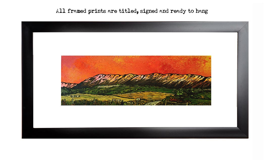 Framed print of the Campsie Hills, Scotland from an original Scottish landscape painting by Glasgow artist A Peutherer. Original mixed media painting in acrylic paint, spray paint, oil paint and acrylic ink on box canvas.