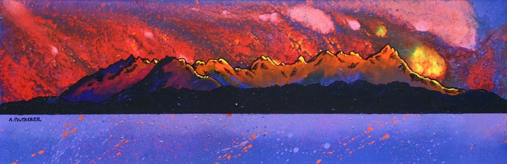 Painting & prints of The Cuillin Ridge From Arasaig, Isle of Skye, Scotland.