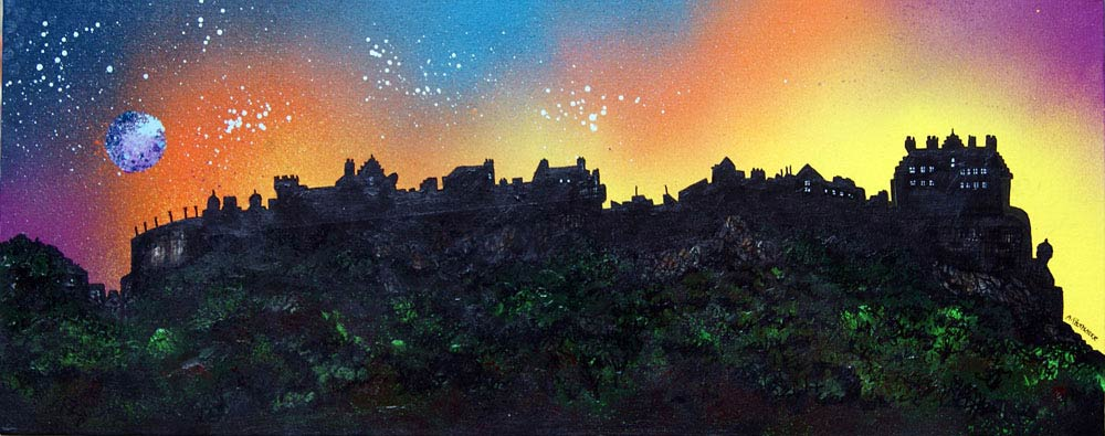 Scottish painting & prints of Edinburgh Castle, Edinburgh, Scotland.