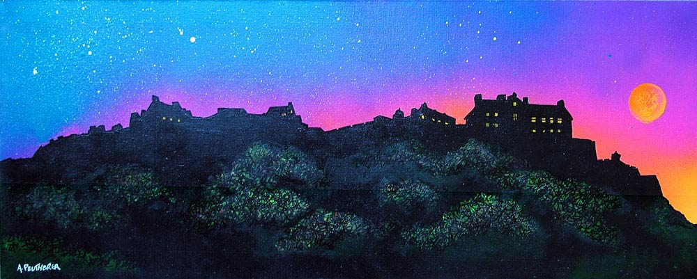 Scottish painting & prints of Edinburgh Castle Sunrise.