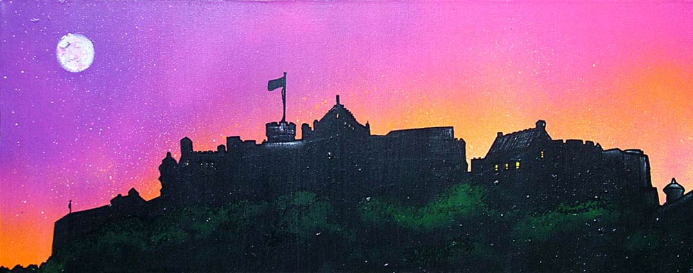 Scottish painting & prints of Edinburgh Castle, Pink Dusk