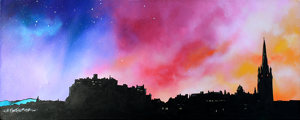 Framed print Edinburgh, the skyline & Castle, Scotland by Scottish artist A Peutherer