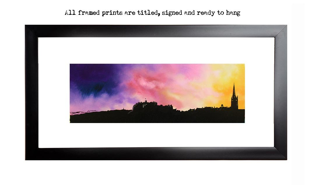 Framed print of Edinburgh, the skyline & Castle, Scotland by Scottish artist A Peutherer