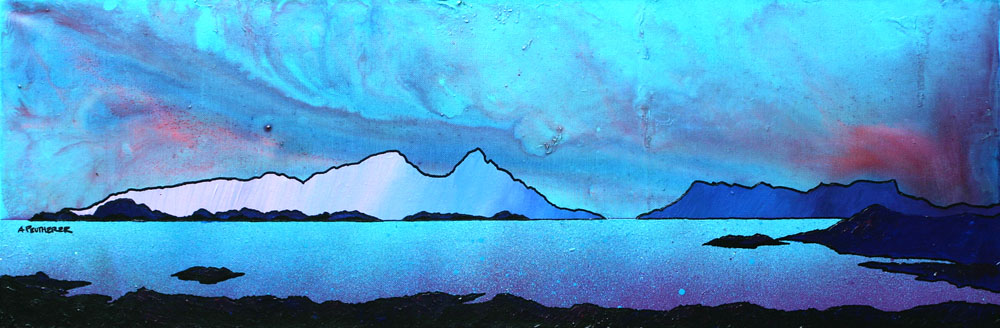 Painting & prints of The Isle of Rum and Eigg from Sanna Bay, Scottish western Isles.