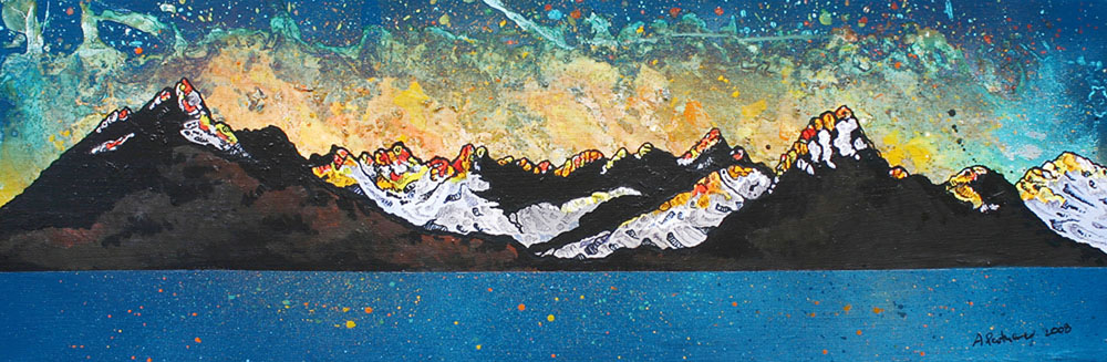Painting & prints of The Cuillin Across The Moor,The Isle of Skye, Scottish Inner Hebrides, Scotland.