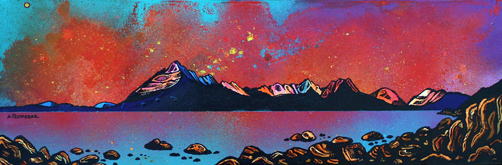 Painting & prints of Elgol, cuillin, Loch Scavaig, Isle Of Skye, Inner Hebrides, Scotland. By contemporary Scottish artsit A Peutherer