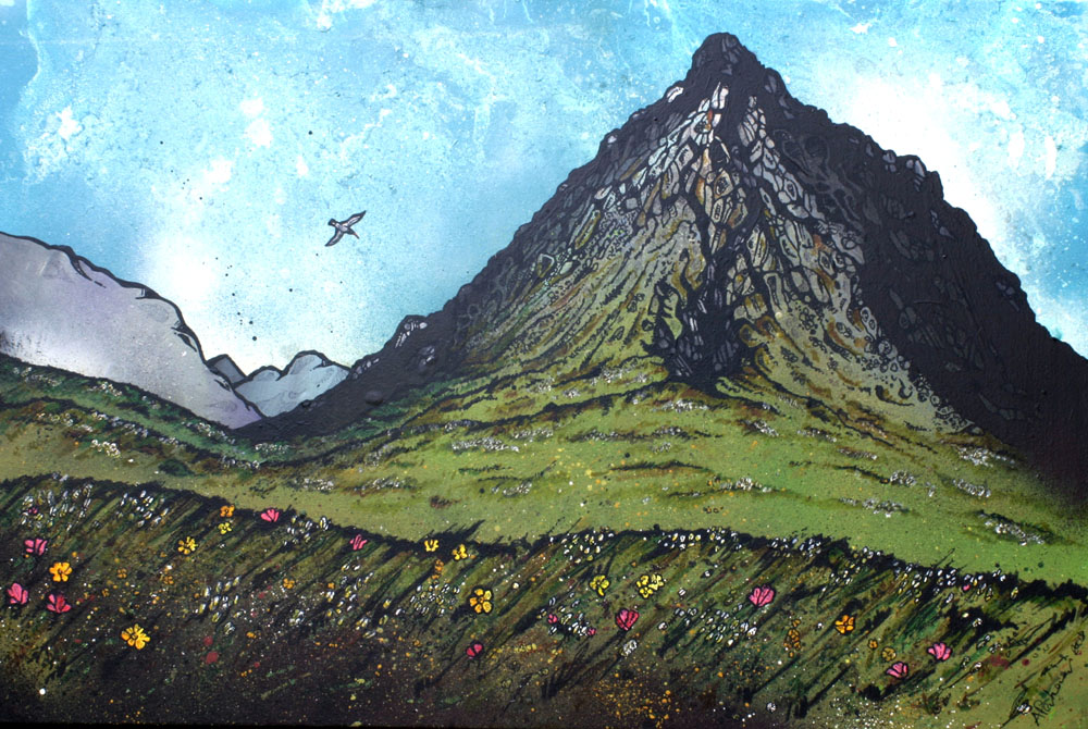 painting and prints of Buachaille Etive Mor Summer, Glencoe, Glen etive, Ranoch Mor Scottish Highlands. from an original Scottish landscape painting by Glasgow artist A Peutherer. Original mixed media painting in acrylic paint, spray paint, oil paint and acrylic ink on box canvas.
