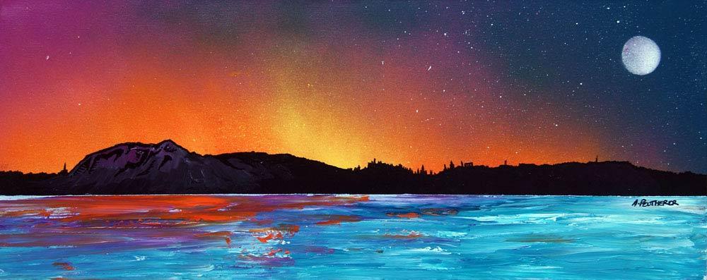 Scottish painting & prints of Edinburgh Sunset Across The River Forth, Scotland.