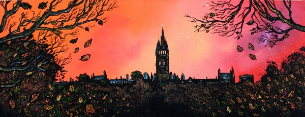 Painting & prints of Glasgow University, Kelvingrove, Scotland by Artist A Peutherer