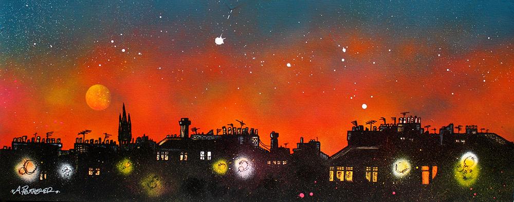 original painting & prints of Glasgow Westend Tenements & University Dusk, Scotland