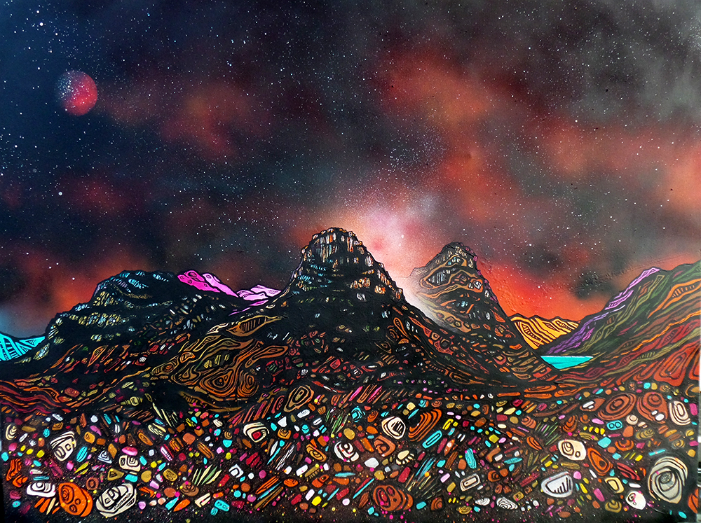 Three Sisters Of glencoe, original painting and prints by Scottish artist A Peutherer