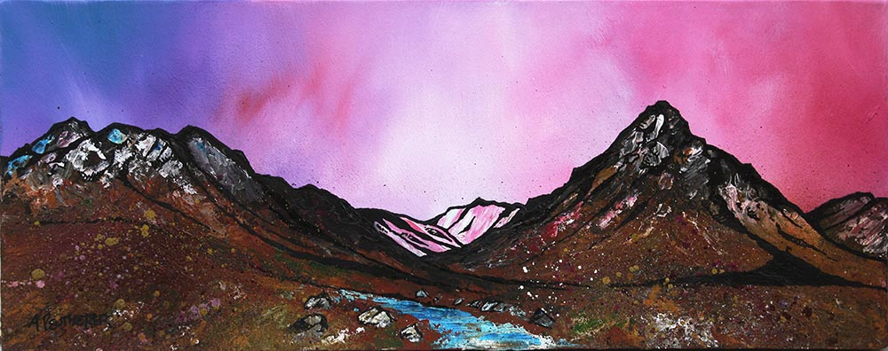 painting & prints of Glencoe, Rannoch Moor & Buachaille Etive Mor, Scottish Highlands. From an original Scottish landscape painting by Glasgow artist A Peutherer. Original mixed media painting in acrylic paint, spray paint, oil paint and acrylic ink on box canvas.