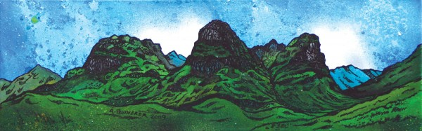 Painting & prints of The Three Sisters Of Glencoe, Highlands, Scotland.