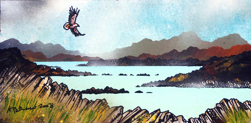 Contemporary Scottish fine art paintings, prints and greetings cards of Sea Eagle Over The Western Isles 1, Scotland.