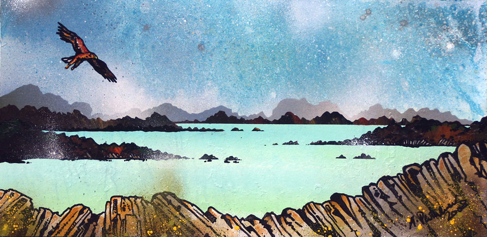 Contemporary Scottish fine art paintings, prints and greetings cards of Sea Eagle Over The Western Isles 2 , Scotland.