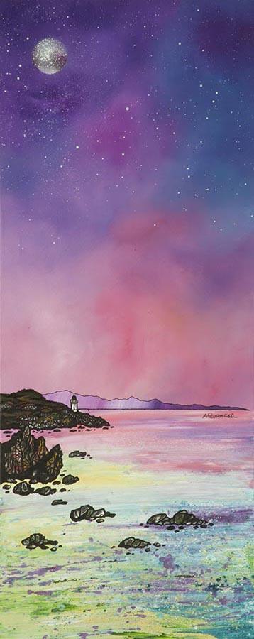 Painting & prints of Islay, Port Charlotte Lighthouse, Inner Hebrides, Scotland.