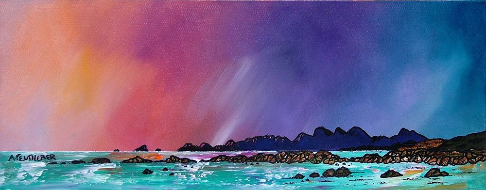 Painting & prints of Saligo Bay Winter Sunset, Isle of Islay , Scottish Western Isles.