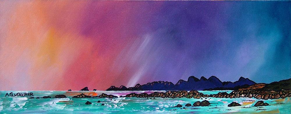Painting & prints of Saligo Bay Winter Sunset, Isle of Islay , Scottish Western Isles.