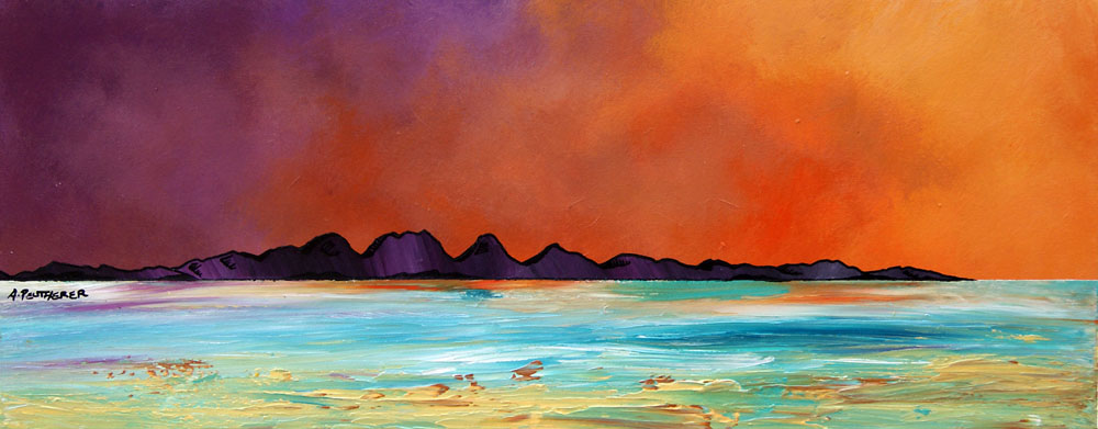 Painting & prints of The Isle of Jura from Ghia, Argyll, Scotland.