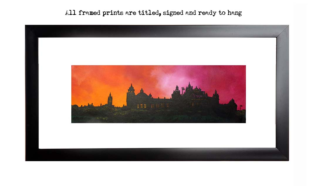 Framed print of Kelvingrove Museum, Glasgow University, Scotland by Scottish artist A Peutherer
