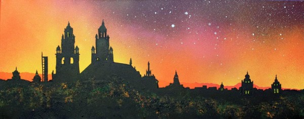 Painting & prints of of Kelvingrove Museum, Glasgow, Scotland.