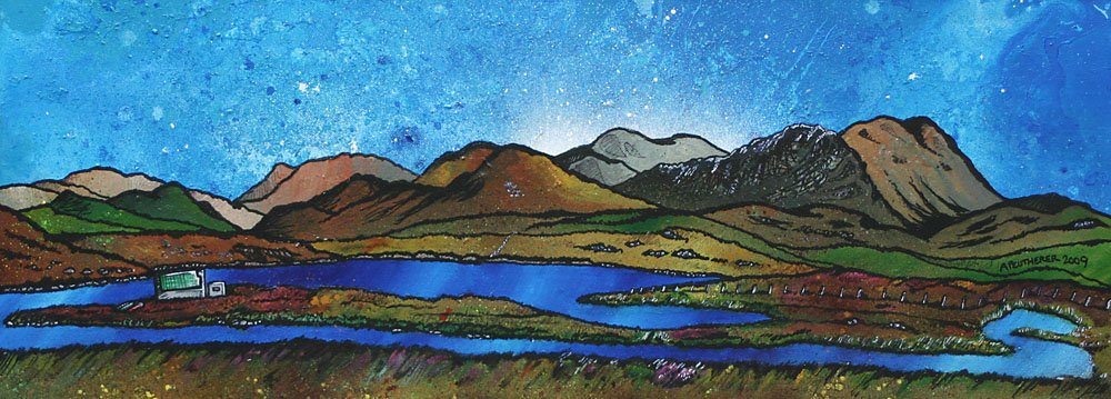 Painting & prints of Laxay Fishing Estate, Isle Of Lewis, Scottish Western Isles.