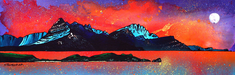 Painting & prints of Loch Sligachan Sunset, Isle of Skye, Scottish Western Isles.