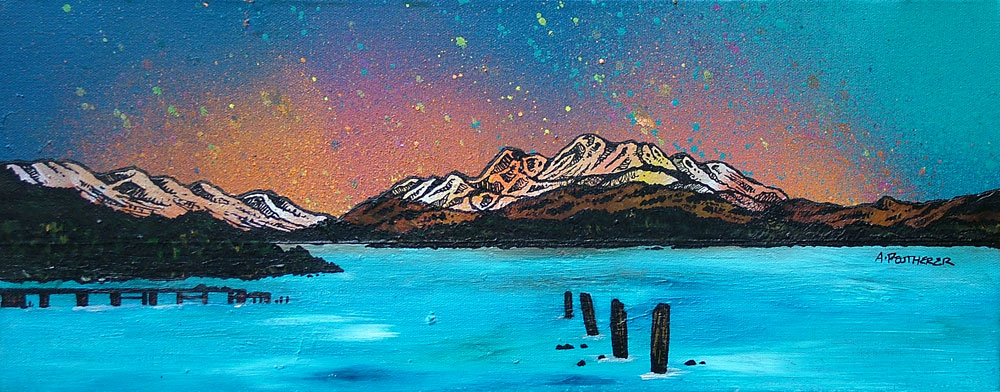 Commissioned painting and prints of Ben Lomond from Cameron House Hotel, Loch Lomond, Scottish Highlands.
