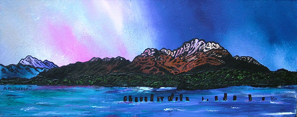 Contemporary Scottish fine art paintings and prints of Ben Lomond Winter Sky, Loch Lomond, Scottish Highlands.