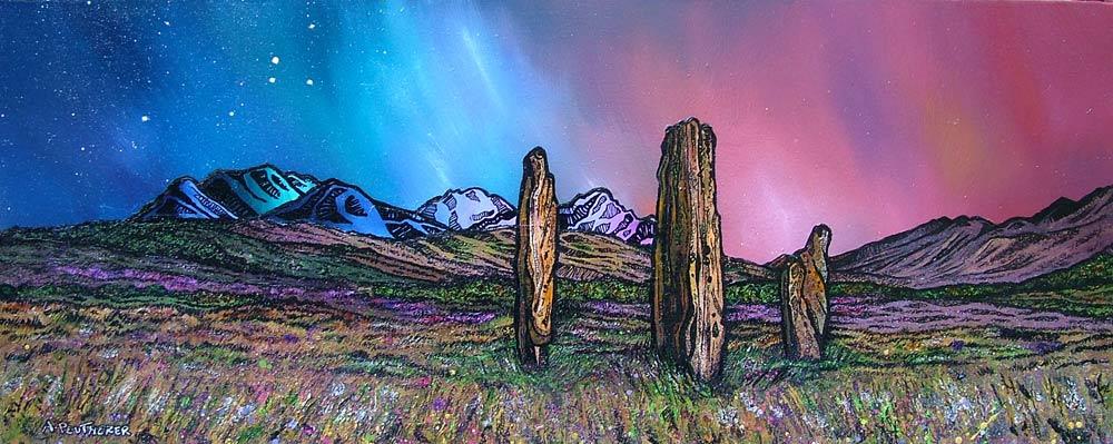 Scottish painting & prints of Machrie Moor Standing Stones, Isle of Arran, Ayreshire, Scotland.