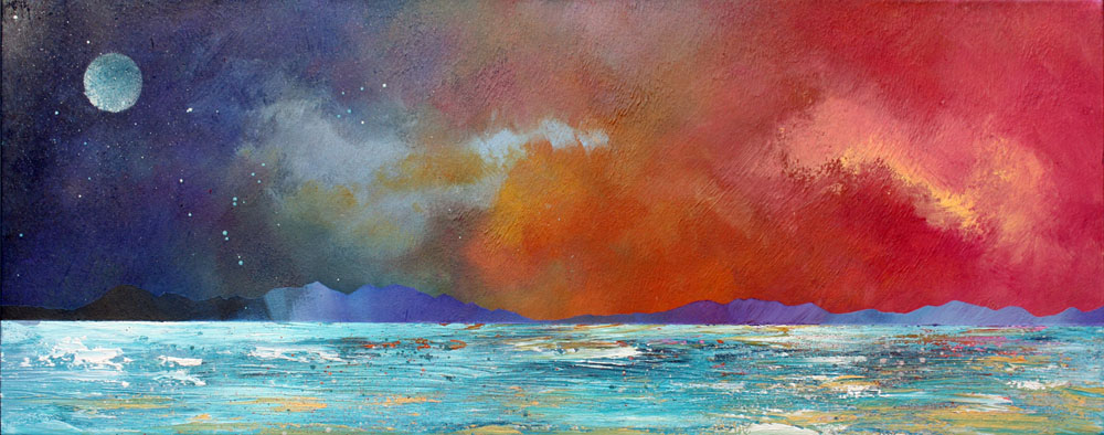 Scottish painting & prints of Mull from Ganavan, Oban, Scotland.
