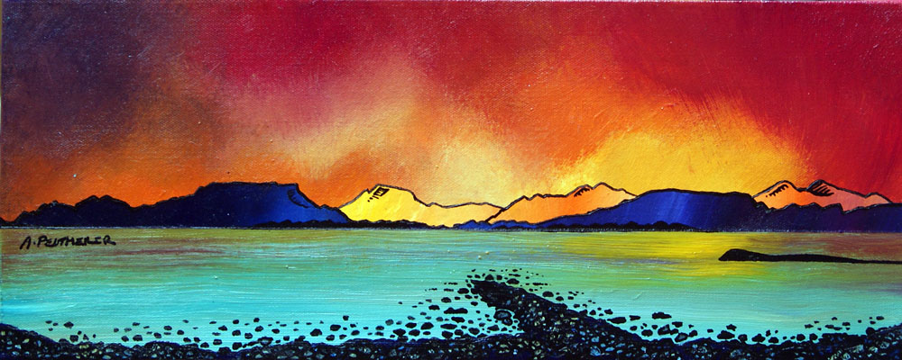 Painting & prints of Oban Bay Sunset, Scotland.