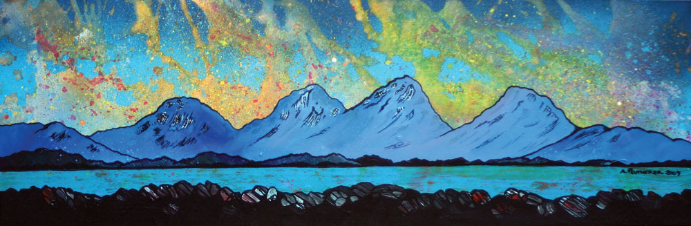 Painting & prints of The Paps of Jura from the Isle of Mull, Isle Of Jura, Scottish Inner Hebrides, Scotland