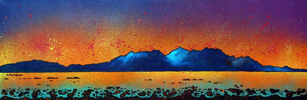 painting & prints of Arran from Portencross, Scotland. from an original Scottish landscape painting by Glasgow artist A Peutherer. Original mixed media painting in acrylic paint, spray paint, oil paint and acrylic ink on box canvas.
