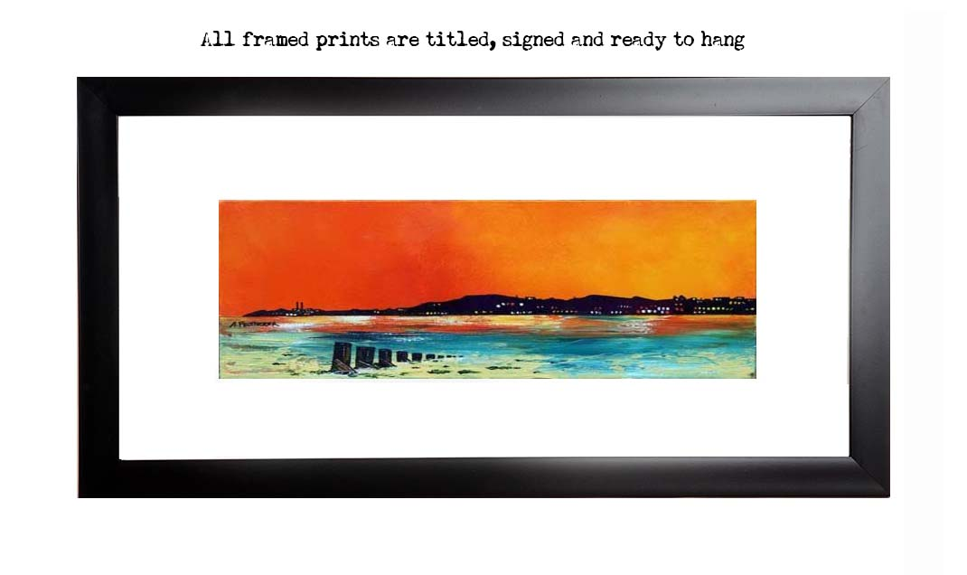 Framed print of Portobello Beach sunset, east Lothian, Scotland