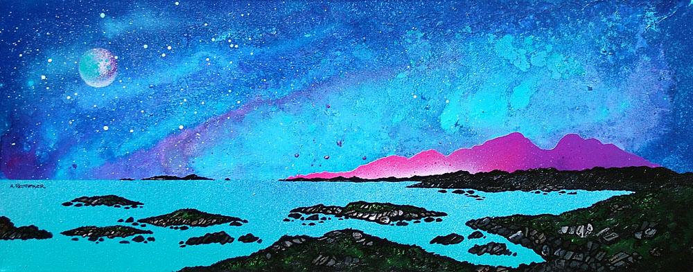 Scottish painting & prints of Rum And Sanna Bay, Ardnamurchan Peninsula.