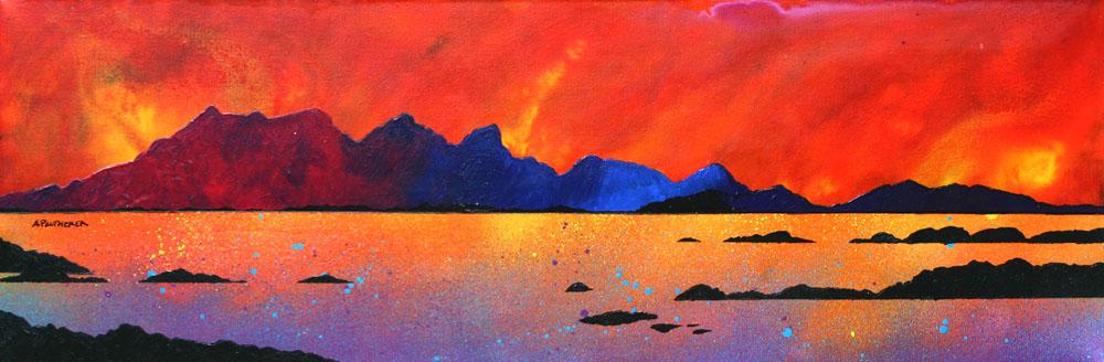 Painting & prints of The Isle of Rum Winter Sunset, Scottish western Isles.