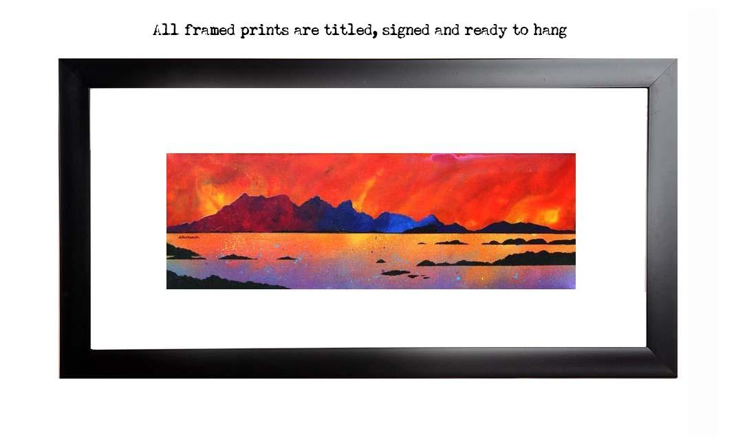 Framed print of The Isle of Rum Winter Sunset, Scottish western Isles.