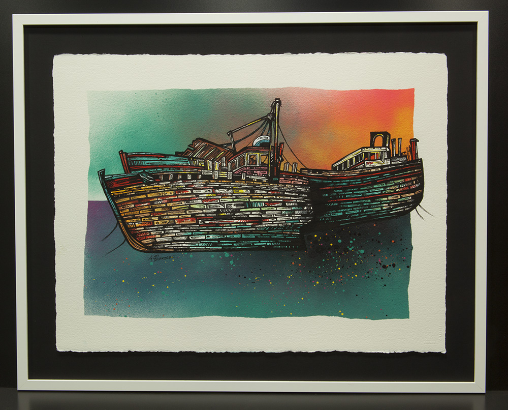 Salen Fishing trawler boat wrecks painting, isle of Mull, scotland, hebrides.
