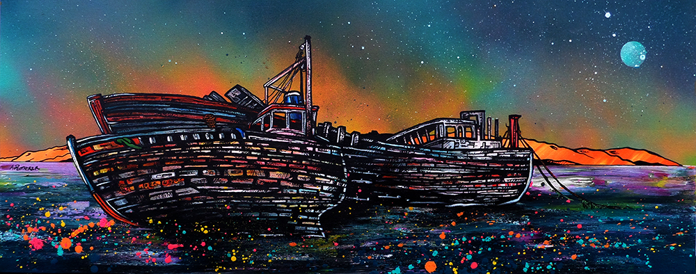 Salen Boat wrecks' Isle of Mull, Hebrides, Scotland. Painting and prints by Scottish contemporary landscape artist A Peutherer