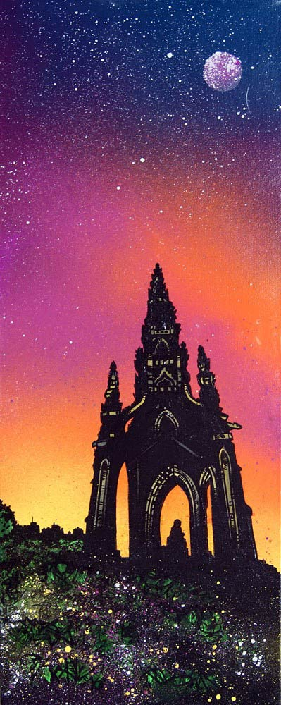 Scottish painting & prints of Scott Monument, Edinburgh, Scotland