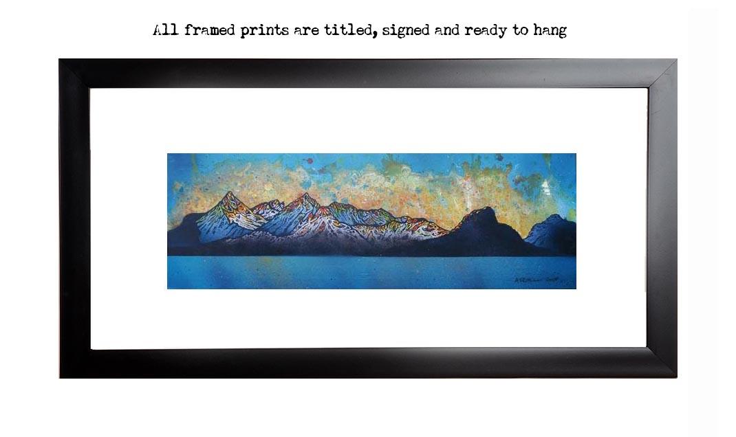 Framed print of Black Cuillin, Winter Sunset, Loch Scavaig, Isle Of Skye, Inner Hebrides, Scotland.