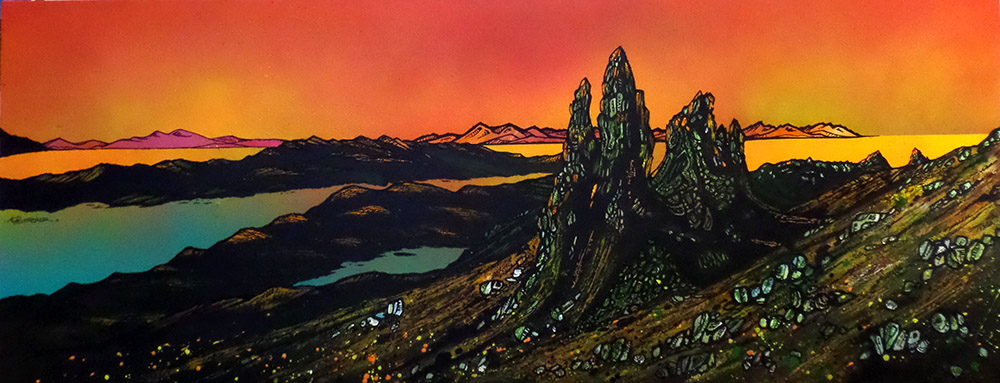 painting and prints of The Old Man of Storr, Sunset, Towards The Cuillin and Rassay, Trotternish Peninsula, Isle of Skye, Hebrides, Scotland.