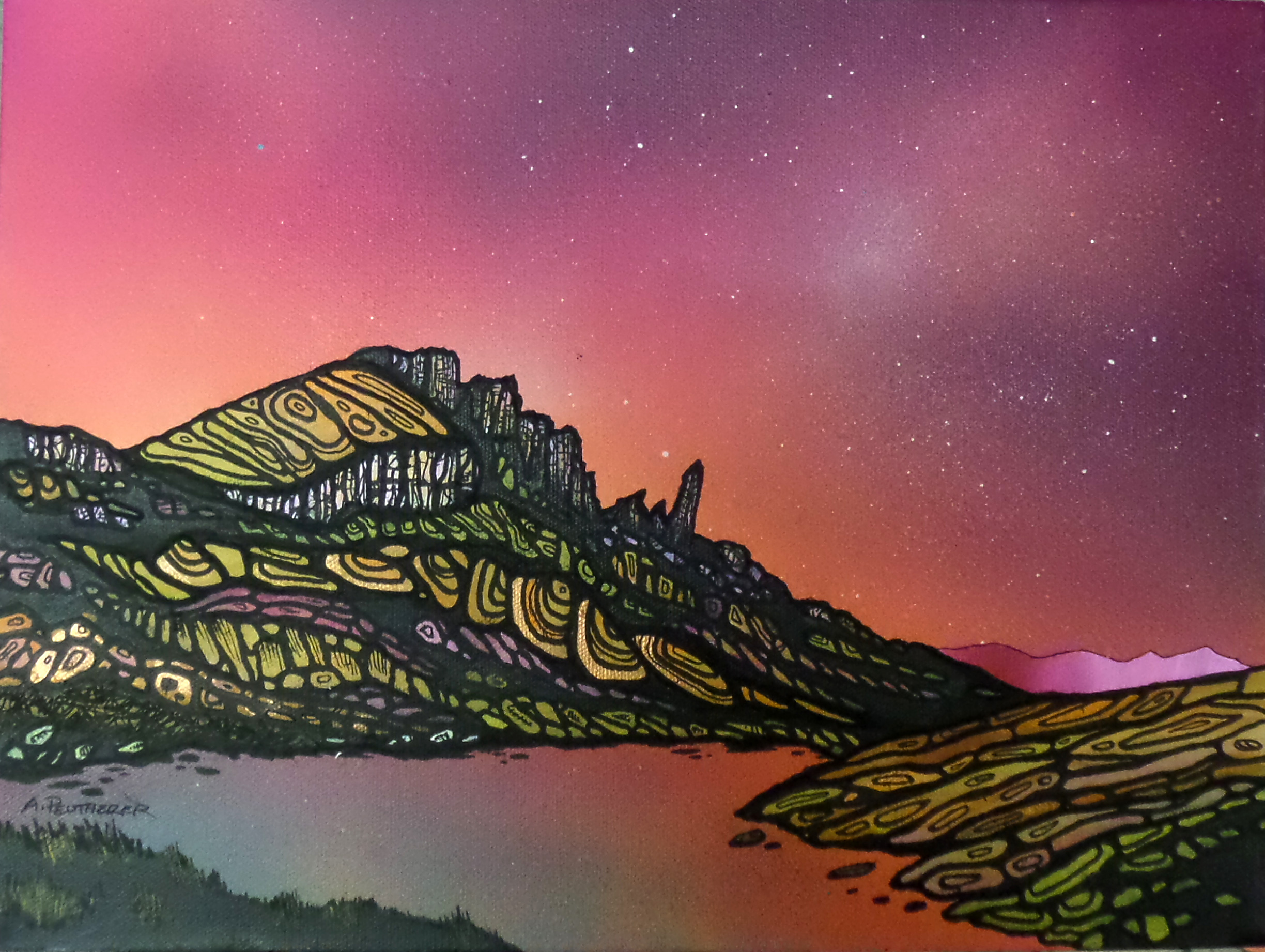Painting and prints of The Old Man of Storr, across Loch Fadda, Trotternish Peninsula, Isle of Skye, Hebrides, Scotland.